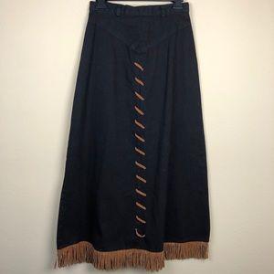 Rough rider vintage black tassel midi skirt 9 boho